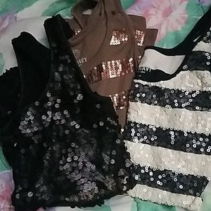 3 Sequins Tank Tops Exc.Cond.